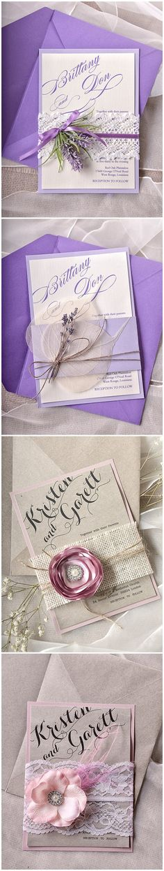 Purple Rustic Vintage Lace Wedding Invitations
