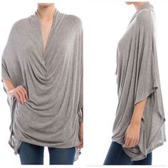 Heather Gray Drape Top Heather Gray Drape Top  NWT Very flattering for every figure  Loose fitting and flowy 2 Small, 2 Medium, 2 Large available  ⭐️Please do not purchase this listing. Comment and I will make a separate listing for purchase⭐️  Trades PayPal ⭐️Price is firm⭐️ Tops Tunics