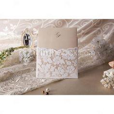 convite de casamento elegante floral corte (conjunto de 50)