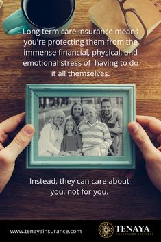 Long term care insurance means you're protecting them from the immense financial, physical, and emotional stress of having to do it all themselves.  Instead, they can care about you, not for you.  Having long term care insurance means you don't have to pay the high costs for care out of your own pocket.  Instead your family can manage your care, not provide it 24/7.  Protect your family, call Tenaya Insurance today!  #longtermcareinsurance  #longtermcare  #lifeinsurance  #benefitsoflifeinsurance Benefits Of Life Insurance, Buy Life Insurance Online, Long Term Care Insurance, Emotional Stress, Care About You, Money Tips, Physics, Finance, Pocket