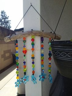 Colorful Peace Love and Happiness Driftwood Light Catcher, Wind Chime