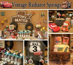 vintage cars radiator springs birthday party #disney #cars