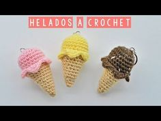Simple Ice Cream Crochet Tutorial Today we are going to learn how to crochet a beautiful 'gelato'. I love ice creams and on this sunny day I almost took a bite of this crochet project. Ice Cream Cone Craft, Mini Ice Cream Cones, Crochet Patterns For Beginners, Easy Crochet Patterns, Amigurumi Patterns, Amigurumi Tutorial, Cute Crochet, Crochet Dolls, Crochet Cozy