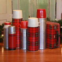 Plaid and Silver Thermos's & Lunch Box