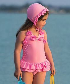 Pink Lucy One-Piece Swimsuit & Swim Cap - Toddler & Girls