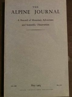 The Alpine Journal May 1965