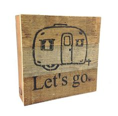 Let's Go Camping - Reclaimed Tobacco Lath Art Sign 6-in X 6-in - Mellow Monkey