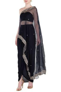 PLEATS BY KAKSHA & DIMPLE presents Black embroidered one shoulder cape with bustier and palazzo pants available only at Pernia's Pop Up Shop. Beautiful Saree, Beautiful Dresses, Shoulder Cape, Dress Neck Designs, Stylish Dresses, Long Dresses, Cape Dress, Indian Designer Outfits, Couture Fashion