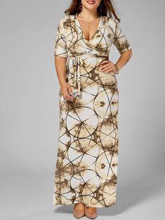Tie Dye V Neck Plus Size Long Dress In Camel,5x/18   $21.28