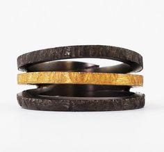 Triple wrap ring Greek Jewelry black gold multi by silverjewelrygr hammered multi band silver ring Greek ring