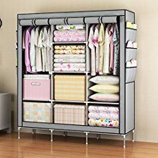 Mow-Wow Christmas Gift Prevail Clothes Closet Portable Wardrobe Storage Organizer with Shelves Multilayer Sturady Durable Construction Stroage Cabinet GRAY Portable Wardrobe, Portable Closet, Wardrobe Storage, Wardrobe Closet, Closet Storage, Closet Organization, Simple Wardrobe, Organization Ideas, Closet Shelves