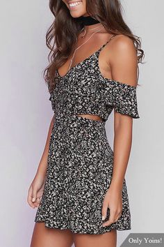 4495ebd4aa2 Black Sexy Random Floral Print Cami Dress with Cut Out - US 15.95