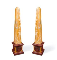 Pair of Italian Neoclassical Sienna and Rouge Sanguine marble obelisks, circa 1955 - Dim: 23 in.H, 58 cmH