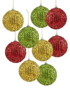 Bring the timeless beauty of the holidays into your home with The Colors of Christmas Beaded Ornament Set. #TreetopiaOrnaments