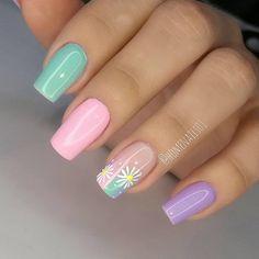 Cute Nail Art Designs, Gel Nail Designs, Cute Nails, Pretty Nails, Sunflower Nail Art, Pastel Nail Art, Easter Nails, Manicure E Pedicure, Shellac Nails