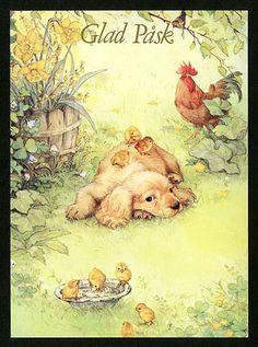 "329 Postkarte von Lisi Martin - monikas "" salemoon SHOP"" www. Vintage Greeting Cards, Vintage Ephemera, Arte Popular, Vintage Artwork, Children's Book Illustration, Vintage Pictures, Cute Drawings, Cute Art, Poster"