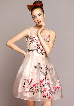 Apricot Sleeveless Embroidered Organza Flare Dress $73.33.. I think I will get it..
