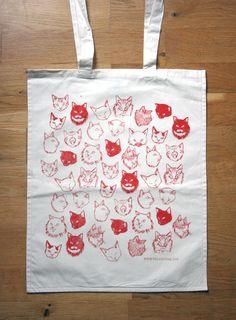 Cat Tote Bag - red. $12.00, via Etsy.