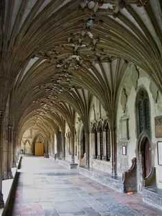 The cloisters at Canterbury Cathedral.