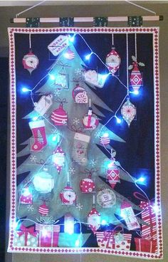 Quilted Fabric Advent Calendar - Jolly Christmas with christmas lights by softtreasures on Etsy