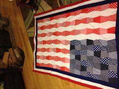 Front of American flag quilt