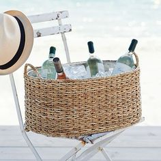 woven drink bucket with metal insert, from West Elm, but no longer available… Cottages By The Sea, Beach Cottages, Beach Houses, Summer Fun, Summer Time, Summer Beach, Summer Breeze, Rattan, Wicker