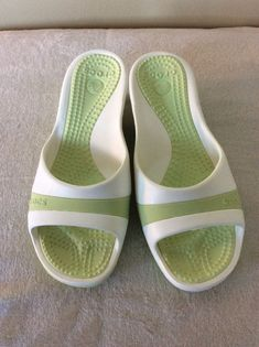 e42ece0b3 Crocs Sassari Wedge Size 9 Celery White. Great Condition!  fashion   clothing