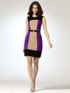 Jewel neck ponte colorblock sheath dress with hidden back zipper. 38 1/2 inch body length(belt sold separately)72% rayon, 33% nylon, 5% spandexImportDry clean only