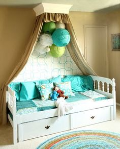 DIY:: Girls Bedroom Makeover ! Excellent ! Tutorial by remodelaholic (includes stenciled wall, crown cornice & blue and green canopy Tutorial).