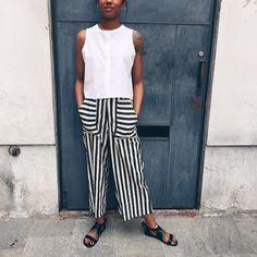 """Hidden Forest Market su Instagram: """"Pantaloni a righe in cotone-lino e camicetta con collo alla coreana ❤️👉🏻 hiddenforestmarket.com #verona #bologna #parma #milano #firenze…"""""""