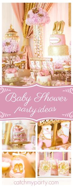 Don't miss this stunning vintage Ballerina Baby Shower! The ballet slipper cookies are beautiful!! See more party ideas and share yours at CatchMyParty.com