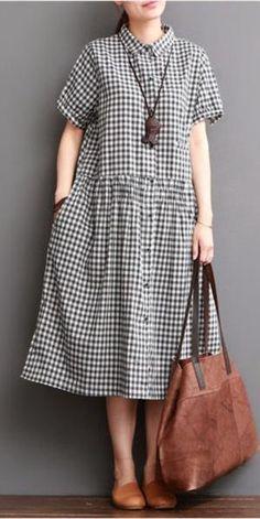 Causal Grid Dress Summer Women Clothes – Linen Dresses For Women Linen Dresses, Women's Dresses, Casual Dresses, Dresses Online, Denim Dresses, Casual Clothes, Plaid Dress, Casual Chic, Ideias Fashion