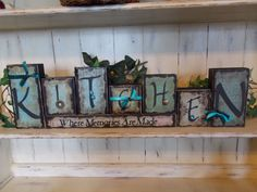 Kitchen Wood Block Sign by ktuschel on Etsy 2x4 Crafts, Wood Block Crafts, Barn Wood Crafts, Vinyl Crafts, Wooden Crafts, Crafts To Make, Small Wood Projects, Craft Projects, Craft Ideas