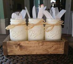 Mason jar table decor-mason jar kitchen decor-rustic utensil holder - baby shower decor-party decor-Wedding Decor -Farmhouse Decor