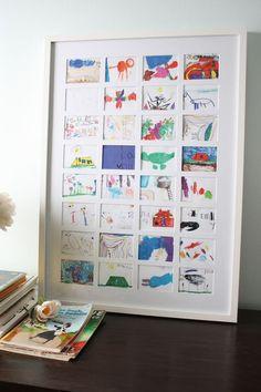 The best way to display kids art - diy kid's art collage. The best way to display kids art - diy kid's art collage. Displaying Kids Artwork, Artwork Display, Diy Artwork, Diy For Kids, Crafts For Kids, Kids Fun, Art Du Collage, Collage Ideas, Wall Collage
