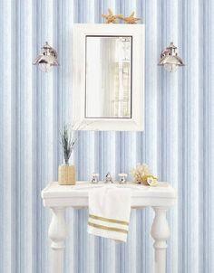 Carta da parati a righe blu e azzurre multifini Vanity, Letters, Dressing Tables, Powder Room, Vanity Set, Single Vanities, Vanities, Dresser To Vanity, Wash Stand