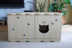 Meubles de chat mode chats chats a 1 transversale toilette for Meuble litiere chat