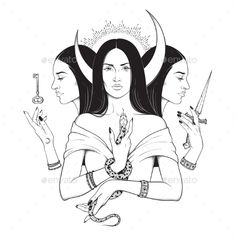 Buy Lunar Goddess Hecate by croisy on GraphicRiver. Triple lunar Goddess Hecate ancient Greek mythology hand drawn black and white isolated vector illustration. Greek Goddess Tattoo, Greek God Tattoo, Hecate Goddess, Greek Mythology Tattoos, Moon Goddess, Greek Goddess Art, Celtic Mythology, God Tattoos, Body Art Tattoos