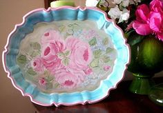 HP Roses Hand Painted Roses Pink Tray Silver Plate Shabby Cottage Chic   eBay