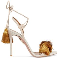 Aquazzura + Johanna Ortiz tasseled two-tone suede sandals (€490) ❤ liked on Polyvore featuring shoes, sandals, heels, обувь, mustard, suede sandals, tassel heeled sandals, mustard yellow shoes, tassel sandals and high heel shoes