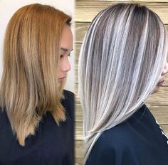 45 Silver Hair Color Ideas For Grey Hairstyles Grey Hair Transformation, Grey Blonde Hair, Gray Hair Highlights, Truss Hair, Hair Color And Cut, Hair Painting, Hair Looks, Hair Inspiration, Short Hair Styles