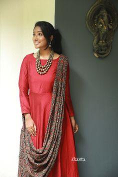 Kalamkari Dresses, Ikkat Dresses, Stylish Dress Designs, Stylish Dresses, Draped Dress, Silk Dress, Anarkali Dress, Cotton Silk, Cute Designs
