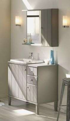 Zenith, pepper gray gloss bathroom collection-vanity unit and mirror cabinet