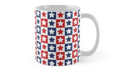 Red White and Blue Patriotic Pattern 05 - Great way to display your patriotism for Memorial Day, 4th of July, Veterans Day and year round. Bold red, white and blue along with the stars and stripes make up this patriotic pattern. • Also buy this #artwork on #home #decor, #apparel, #phonecases, and more.