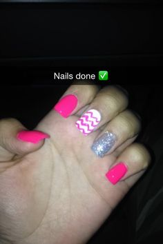Hot Pink, with sparkle and chevron accent nails.
