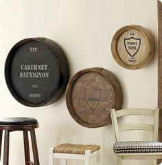 pottery barn wine barrel wall art | wine barrel plaques