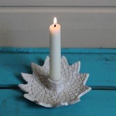Ceramic candle holder, white glaze.