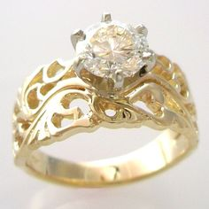 Filigree Style Wedding Set in Gold with CZ by dougpetersonjewelers