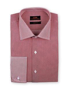 Men's Dress Shirt by Steven Land -  Woven Dot Red