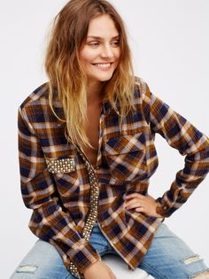 Erin's Studded Plaid Shirt | Luxe plaid buttonup shirt featuring mixed metal statement studded detail. Breast and hip pockets. Rounded hem. Relaxed silhouette.